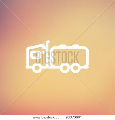 Tanker truck icon thin line for web and mobile, modern minimalistic flat design. Vector white icon on gradient mesh background.