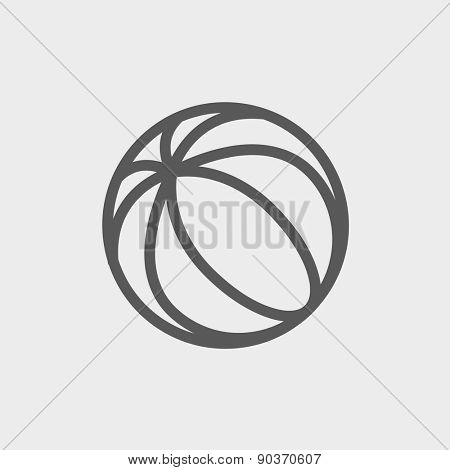 Beach ball icon thin line for web and mobile, modern minimalistic flat design. Vector dark grey icon on light grey background.