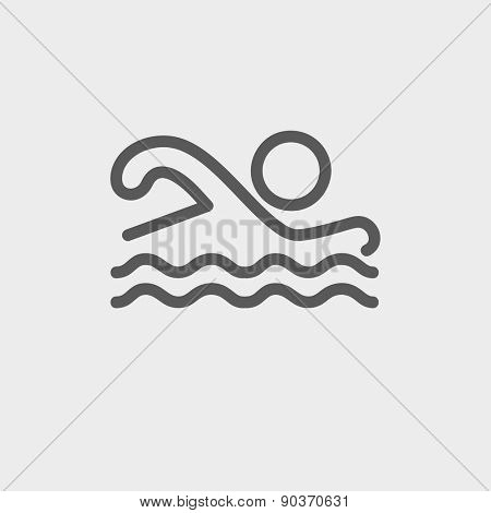 Swimmer icon thin line for web and mobile, modern minimalistic flat design. Vector dark grey icon on light grey background.