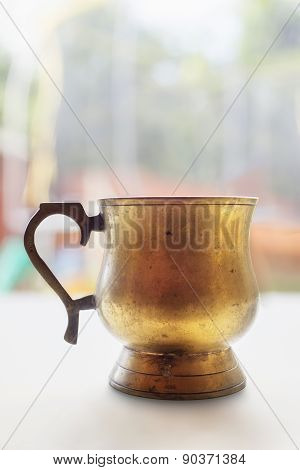 Old Gilded Copper Pitcher