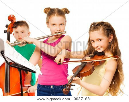 Group of children playing on musical instruments