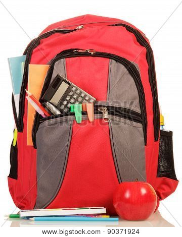 Red school backpack with apple