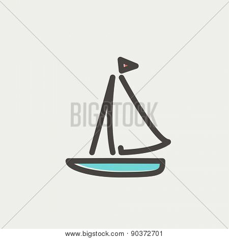 Sailboat icon thin line for web and mobile, modern minimalistic flat design. Vector icon with dark grey outline and offset colour on light grey background.