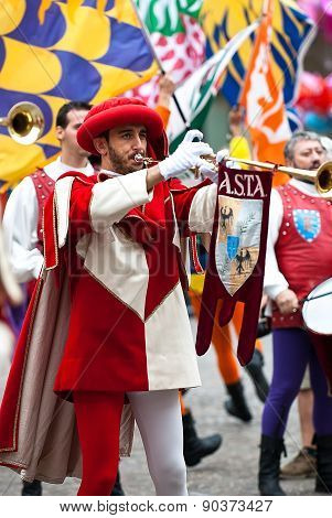 Trumpeter , Reenactment In Medieval Costumes