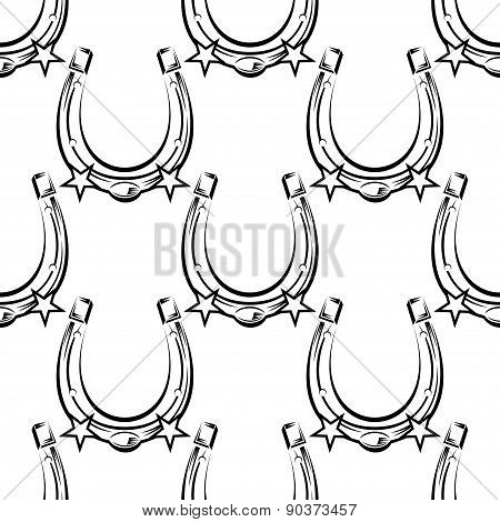 Lucky silhouette horseshoes seamless pattern