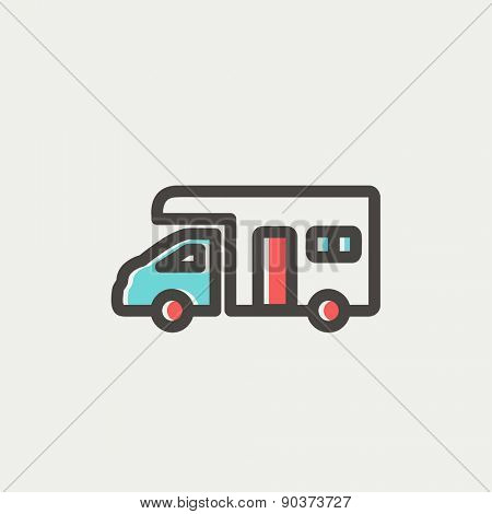 Camper van icon thin line for web and mobile, modern minimalistic flat design. Vector icon with dark grey outline and offset colour on light grey background.