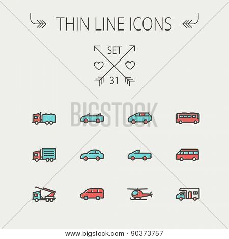 Transportation thin line icon set for web and mobile. Set include- bus, cars, van, helicopter, camper van icons. Modern minimalistic flat design. Vector icon with dark grey outline and offset colour
