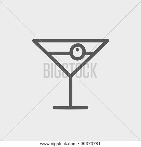 Cocktail drink with cherry icon thin line for web and mobile, modern minimalistic flat design. Vector dark grey icon on light grey background.