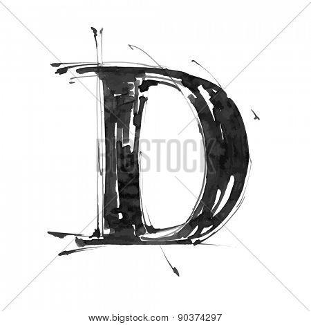 letter D. Alphabet symbol - grunge hand draw paint / vector illustration