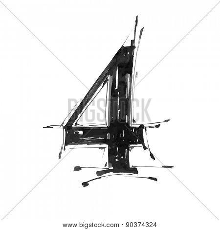 digit 4. Alphabet symbol - grunge hand draw paint / vector illustration
