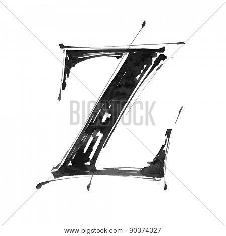 letter Z. Alphabet symbol - grunge hand draw paint / vector illustration
