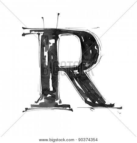letter R. Alphabet symbol - grunge hand draw paint / vector illustration