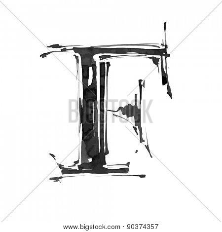 letter F. Alphabet symbol - grunge hand draw paint / vector illustration