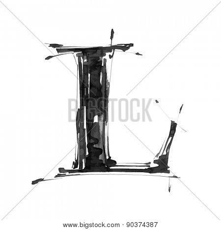 letter L. Alphabet symbol - grunge hand draw paint / vector illustration