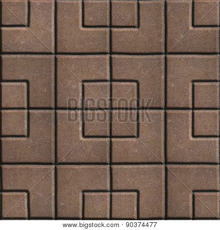 Concrete Slabs Paving Brown in the Form Square of Different Geometric Shapes.