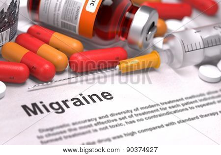 Diagnosis - Migraine. Medical Concept.