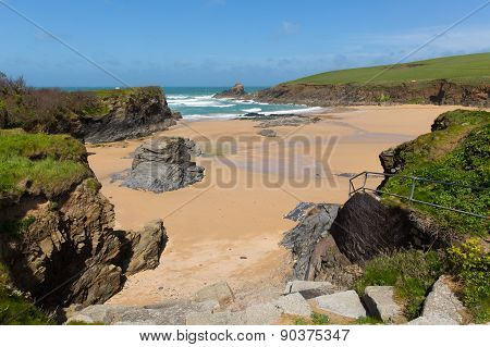 Beautiful beach Trevone Bay North Cornwall England UK near Padstow and Newquay