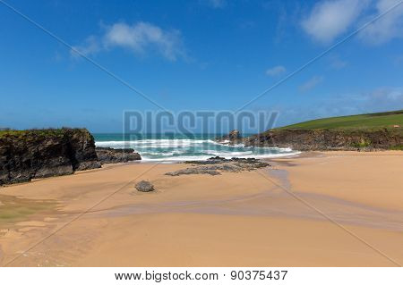 Sandy beach Trevone Bay North Cornwall England UK near Padstow and Newquay