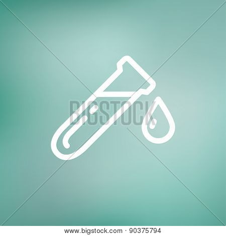 Test tube with water drop icon thin line for web and mobile, modern minimalistic flat design. Vector white icon on gradient mesh background.