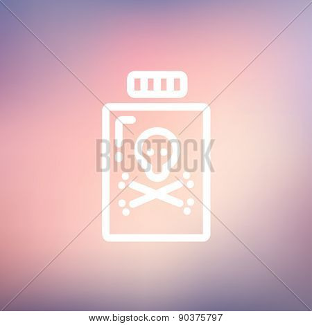 Bottle of poison icon thin line for web and mobile, modern minimalistic flat design. Vector white icon on gradient mesh background.