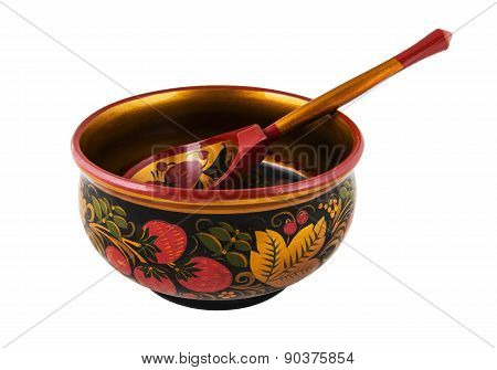 Russian wooden round bowl with a spoon painted Khokhloma