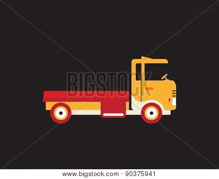 Red Retro Vintage Delivery Truck Icon Isolated On Dark Background