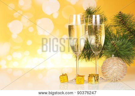 Champagne and Christmas tree