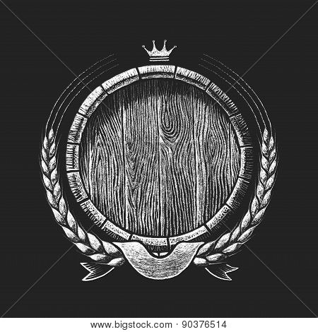 Oak barrel with wheat wreath drawn on the chalkboard