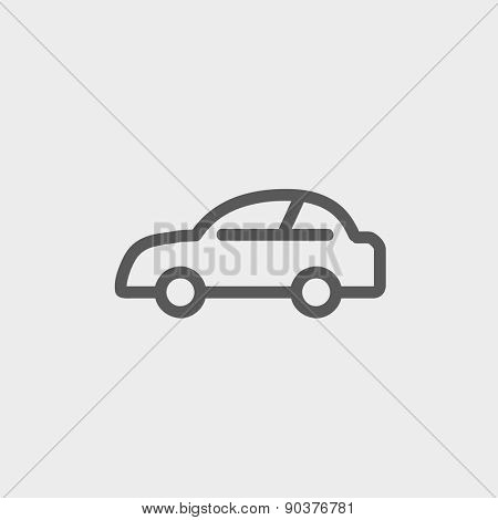 Car icon thin line for web and mobile, modern minimalistic flat design. Vector dark grey icon on light grey background.
