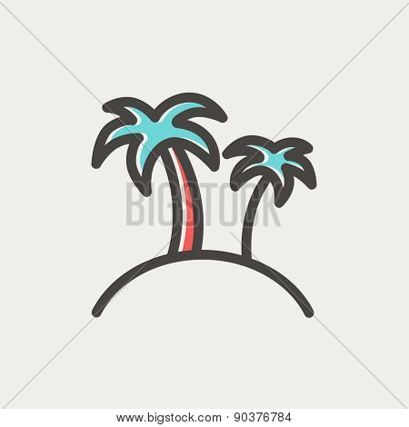 Two palm trees icon thin line for web and mobile, modern minimalistic flat design. Vector icon with dark grey outline and offset colour on light grey background.