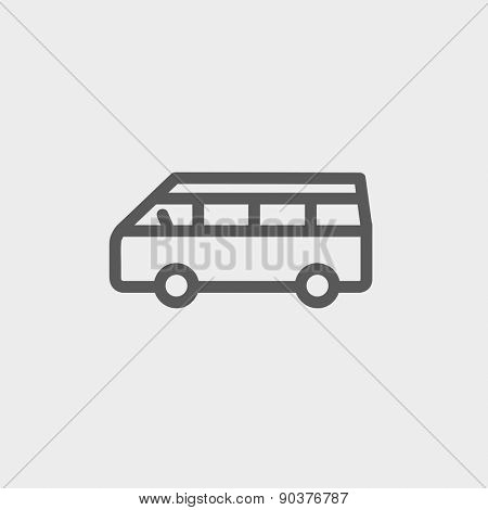 Minibus icon thin line for web and mobile, modern minimalistic flat design. Vector dark grey icon on light grey background.