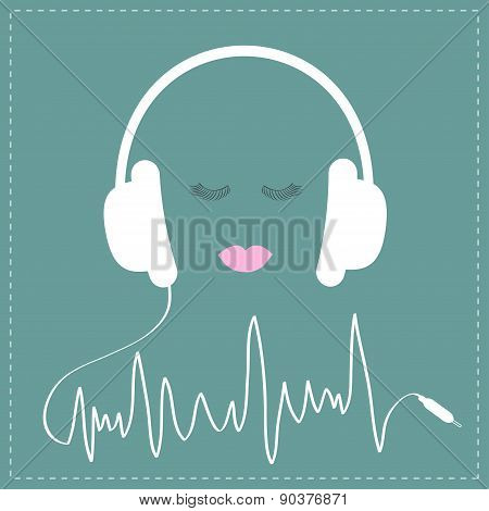 White Headphones With Cord In Shape Of Cardiogram Track Line. Pink Lips And Eyelashes Love Music Car