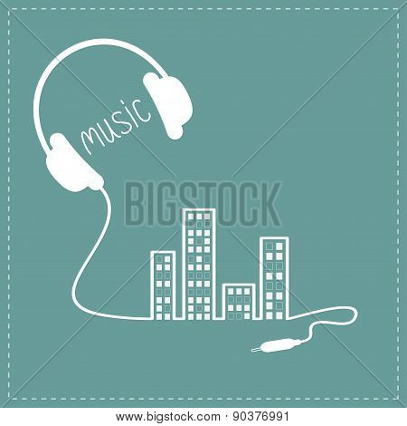 Headphones Cord In Shape Of Equalizer Building House With Swith On Light Windows Music Background Ca