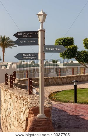 signboard on the beach at hotel, Egypt