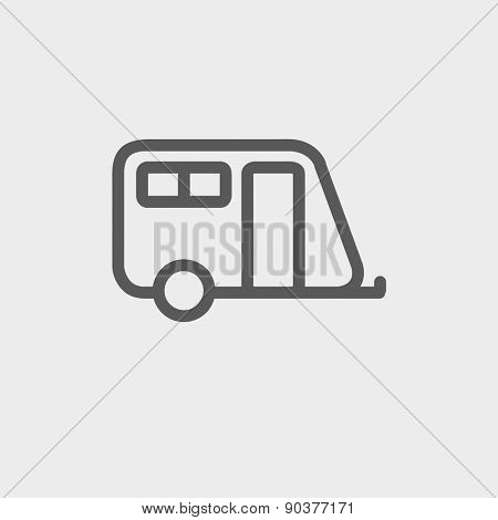Pulling cab icon thin line for web and mobile, modern minimalistic flat design. Vector dark grey icon on light grey background.