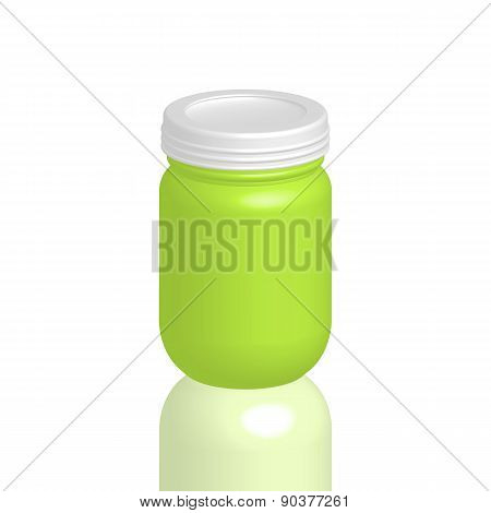Illustration Of Empty Cosmetic Packaging, Cream, Powder Or Gel Jar With Cap, Vector