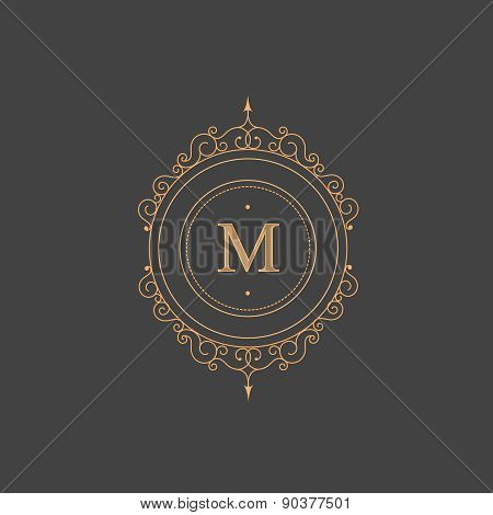 Vintage retro monogram, restaurant, hotel, boutique  Heraldic victorian Design with flourishes elega