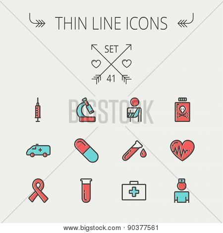 Medicine thin line icon set for web and mobile. Set include- heart with cardiogram, lady nurse, first aid kit, capsule, syringe, test tube, unity ribbon, ambulance  icons. Modern minimalistic flat