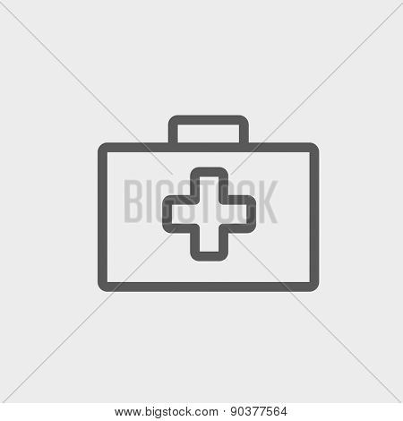 First aid kit icon thin line for web and mobile, modern minimalistic flat design. Vector dark grey icon on light grey background.