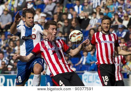 BARCELONA - APRIL, 12: Christian, Stuani of RCD Espanyol(L) and Aymeric Laporte(R) of Athletic de Bilbao during a Spanish League match at the Power8 Stadium on April 12 2015 in Barcelona Spain