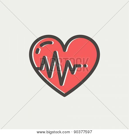 Heart with cardiogram icon thin line for web and mobile, modern minimalistic flat design. Vector icon with dark grey outline and offset colour on light grey background.