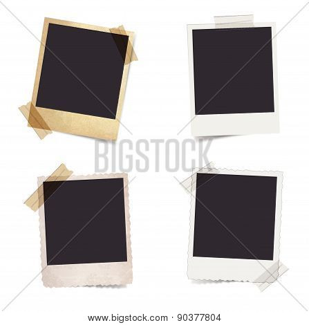 Photo frames stuck with tape