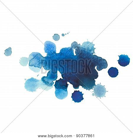 Abstract watercolor aquarelle hand drawn blue drop splatter stain art paint on white background Vect