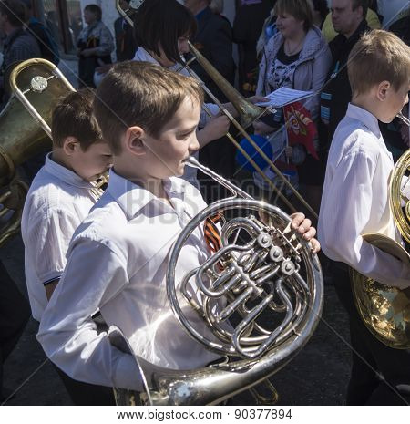 Mstyora,Russia-May 9,2015: Baby Brass Band