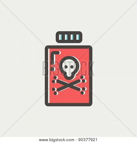Bottle of poison icon thin line for web and mobile, modern minimalistic flat design. Vector icon with dark grey outline and offset colour on light grey background.