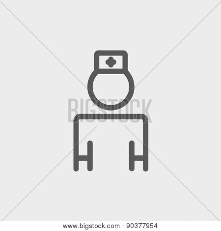 Nurse icon thin line for web and mobile, modern minimalistic flat design. Vector dark grey icon on light grey background.