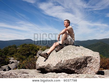 Hiker Overlooking Shenandoah Valley