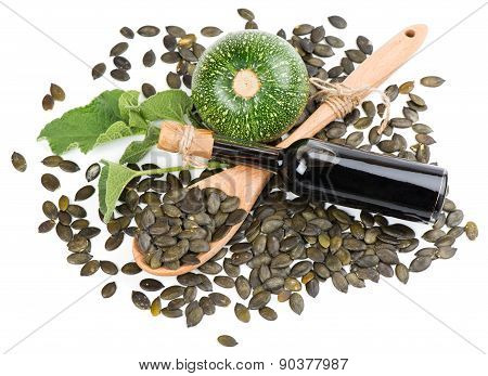 Pumpkin Seed Oil, Raw Pumkin And Seeds, View From Above
