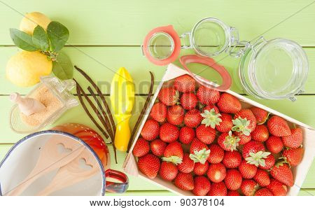 Cooking Jam With Fresh Strawberries