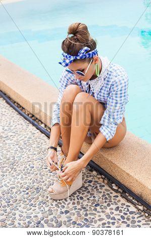 Sexy Beautiful Girl Beside Swimming Pool